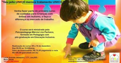 Curso de cuidados para crianças com enfase em Autismo.