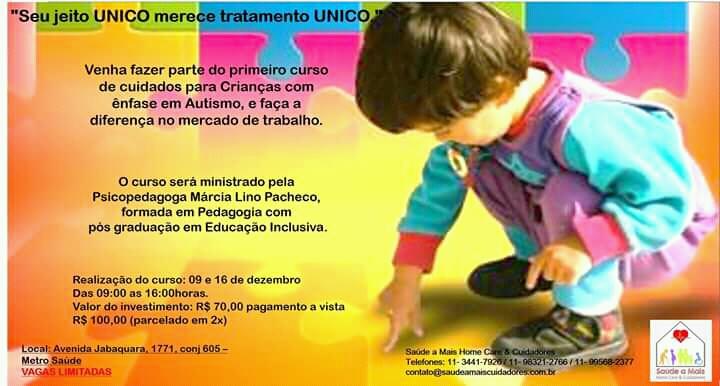 Curso de cuidados para crianças com enfase em Autismo